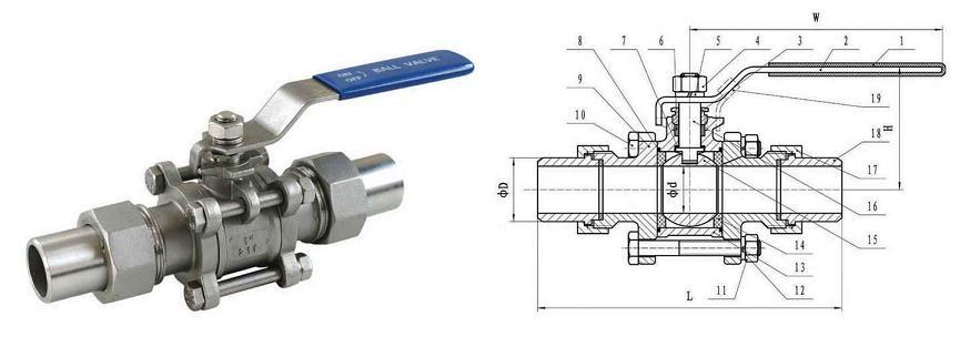 三片式活接对焊球阀结构图,三片式活接对焊球阀示意图